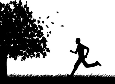 fall images: Man running in park in autumn or fall silhouette, one in the series of similar images