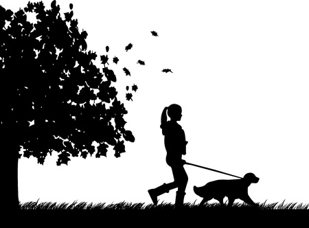 Girl walking a dog in park in autumn or fall silhouette, one in the series of similar images