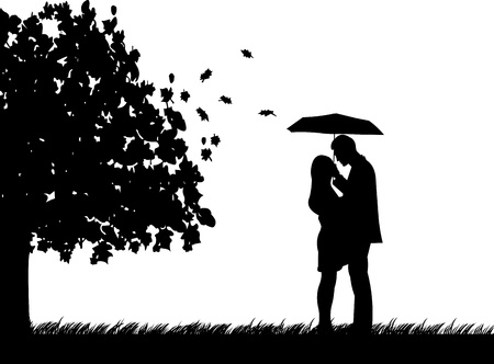 Background with couple with umbrella under the tree in autumn or fall silhouette, one in the series of similar images