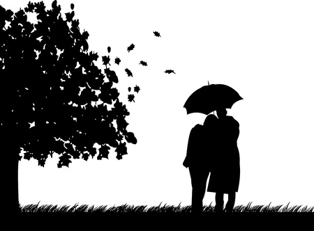 couple embrace: Background with couple walking with umbrella under the tree in autumn or fall silhouette, one in the series of similar images Illustration