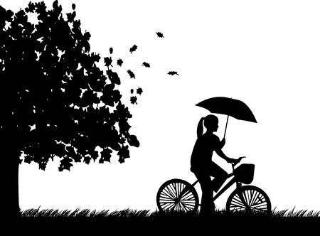 cicla: Mujer joven en bicicleta bajo la lluvia bajo el paraguas en parque en otoño o en el otoño silueta