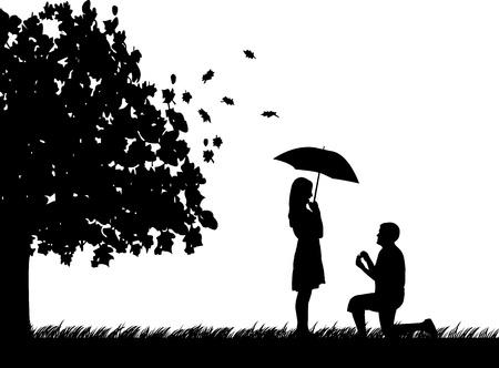 verlobt: Romantische Vorschlag im Park unter dem Baum von einem Mann schlägt mit einer Frau im Stehen auf einem Knie im Herbst oder fallen silhouette