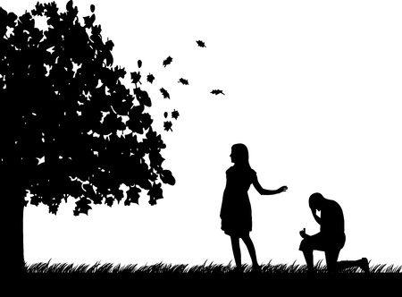 soul mate: Man begs girlfriend, girl refuses marriage proposal in park in autumn or fall silhouette Illustration