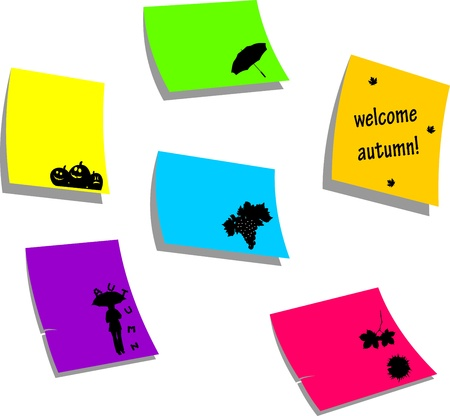 fall images: Autumn or fall icons, sticky colorful memo note papers with autumn or fall symbols, one in the series of similar images silhouette Illustration
