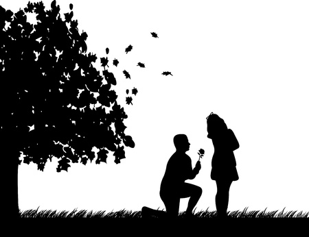 a marriage meeting: A young man with rose, kneel and woo the girl in autumn or fall silhouette,one in the series of similar images Illustration