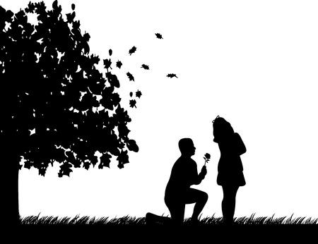 siluetas de enamorados: Un hombre joven con la rosa, se arrodillan y conquistar a la chica de silueta otoño o el otoño, una en la serie de imágenes similares