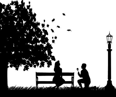 уличный фонарь: Молодой человек с розой, на колени рядом с фонарем и привлечь девушку на скамейке в осени или осенью силуэта, один в серии подобных изображений Иллюстрация