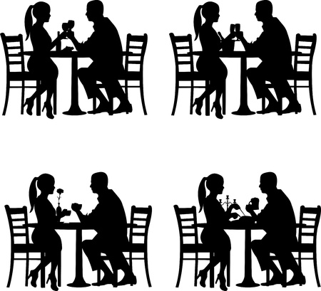 couple date: Background with romantic couple in restaurant in different situation silhouette  Illustration