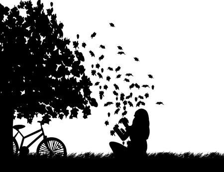 ciclos: Muchacha con la bicicleta jugando en el parque con las hojas de la ca�da de un �rbol en el parque en el oto�o o el oto�o silueta