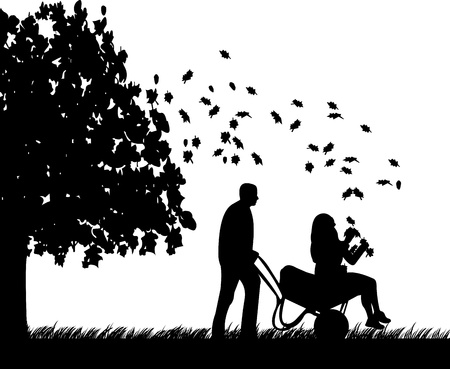woo: Man pushing a girl in cart in autumn or fall in garden or yard and foliage fly under the tree silhouette