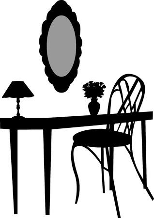 Interieur scène met antieke meubels, oude spiegel, kaptafel, stoel, lamp en vaas met rozen silhouet