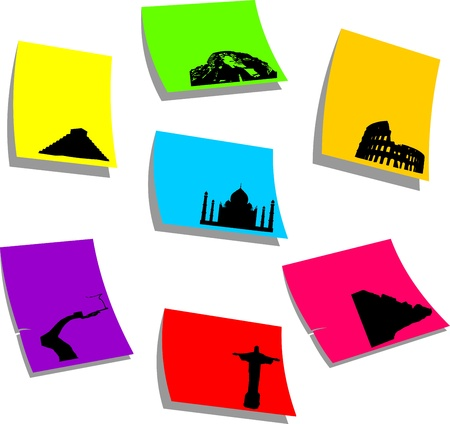 Seven wonders of the new world, sticky colorful memo note papers, one in the series of similar images silhouette  Stock Vector - 16024259