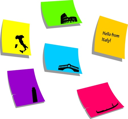 Italy icons or symbols, sticky colorful memo note papers, one in the series of similar images silhouette  Vector