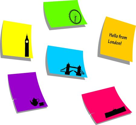 London icons or symbols, sticky colorful memo note papers, one in the series of similar images silhouette  Stock Vector - 16024256