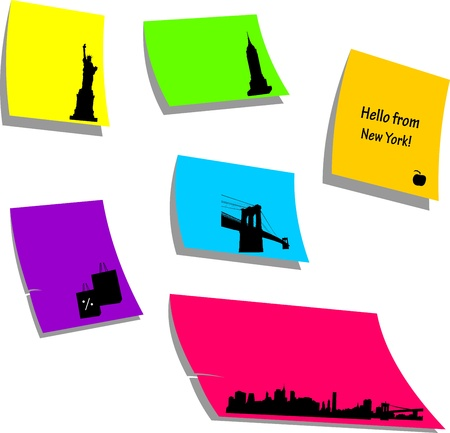 New York icons or symbols, sticky colorful memo note papers, one in the series of similar images silhouette Stock Vector - 16024261