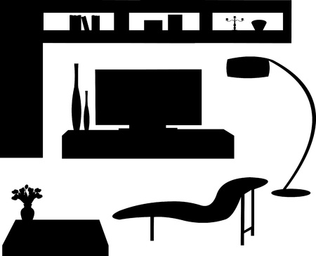 comfort room:  Part of a modern living room with modern furniture silhouette, one in the series of similar images silhouette
