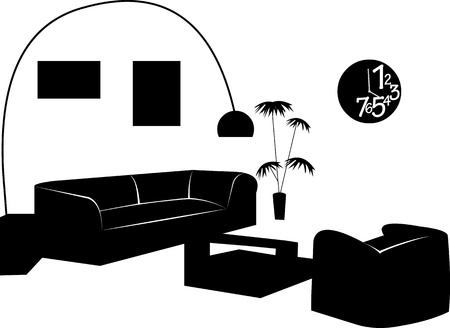 Part of a modern living room with modern furniture silhouette, one in the series of similar images silhouette Stock Vector - 16024263