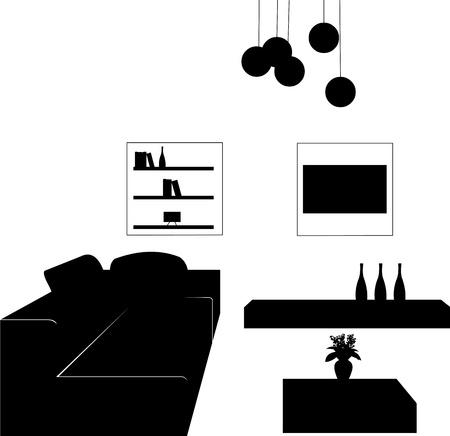 옥내의: 현대적인 가구 실루엣, 비슷한 이미지의 시리즈 중 하나에 현대 거실의 일부