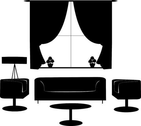 Part of a modern living room with modern furniture silhouette, one in the series of similar images  Stock Vector - 16112212