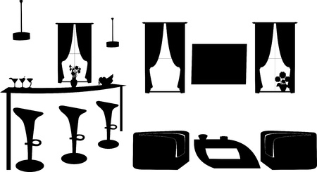 bar stool: Part of a modern living room with modern furniture silhouette, one in the series of similar images