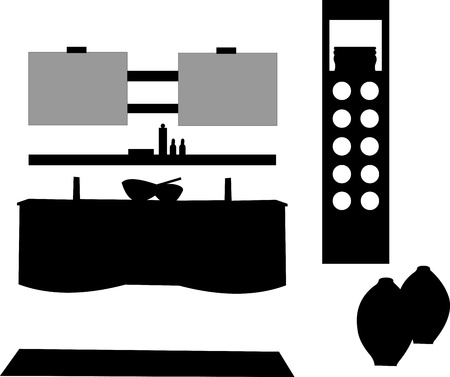 Part of a modern bathroom with modern furniture silhouette, one in the series of similar images silhouette Vector