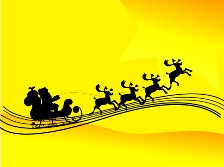 pere noel: Père Noël au volant d'une silhouette traîneau fond jaune Illustration