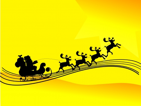 father christmas: Santa Claus driving in a sledge silhouette in yellow background
