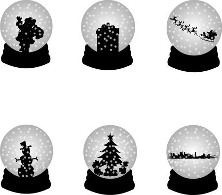 Christmas crystal snow ball or sphere with Santa Clause,reindeer,gif t, snowman,Christmas tree and skyline of New York one in the series of similar images silhouettes  Vector