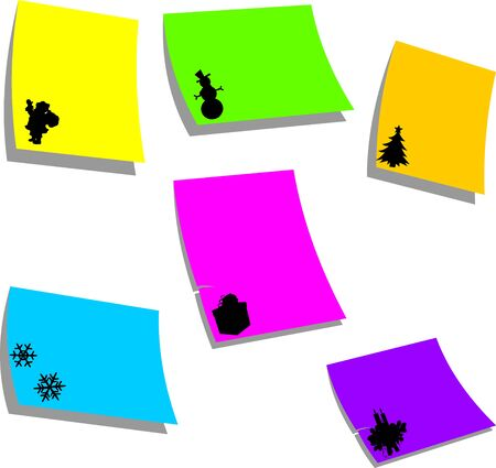 Note paper with Christmas effects or icons or symbols Stock Vector - 16240075