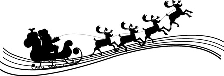 Santa Claus driving in a sledge silhouette  Vector