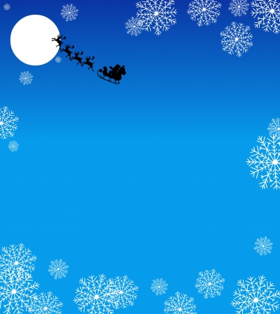 Christmas greeting card with Santa Claus sled and snowflakes background  Vector