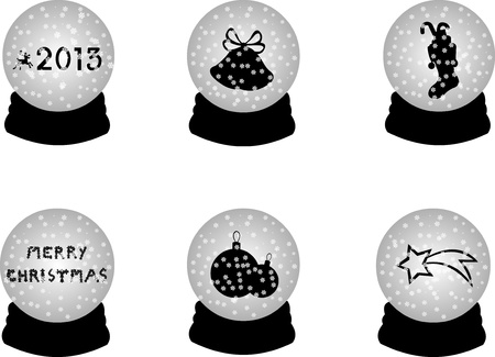 Christmas crystal snow ball or sphere with 2013, bells, socks for St Nicolas, cookies, Christmas tree balls and a shooting star, one in the series of similar images silhouettes  Vector