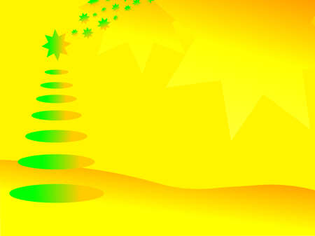 Abstract Christmas background with Christmas tree and stars  Vector