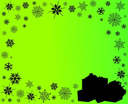 Green background with gift boxes and snowflakes in different shapes silhouette Vector