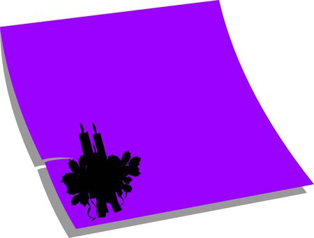 sticky notepaper: Note paper candle decoration, purple color, one in the series of similar images silhouette