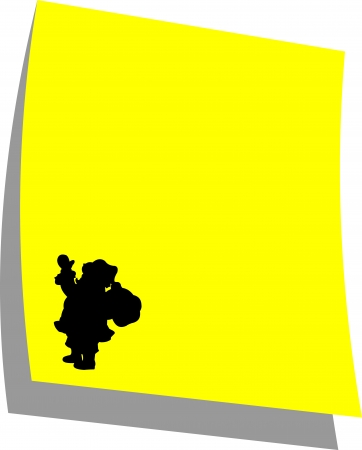 note paper background: Note paper Santa Clause, yellow color, one in the series of similar images silhouette