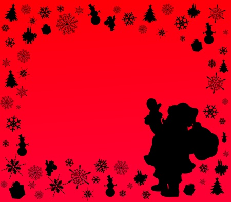 Red background with Santa Claus and symbols of Christmas silhouette layered  Vector