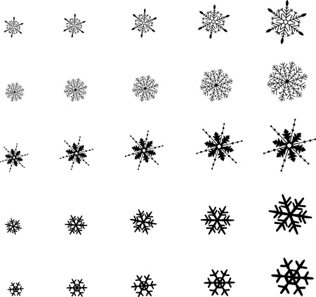 larger: Snowflakes winter set silhouettes from smaller to larger Illustration