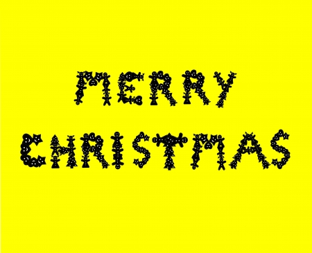 Yellow background, baking cookies for Christmas, baked letter biscuits spelling out the words merry Christmas layered  Vector