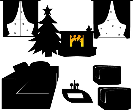 Children s shoes filled with candy and gifts for Nicholas day on the 6th December hanging on fireplace in living room silhouette Stock Vector - 16240090