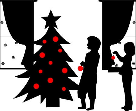 decorating christmas tree: Kids decorating Christmas tree silhouette in winter