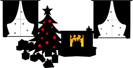 Children s shoes filled with candy and gifts hanging on fireplace and gifts are under the Christmas tree in living room in winter silhouette