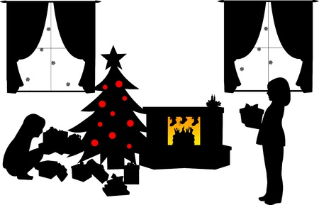 Kids opening presents under the Christmas tree in living room in winter silhouette Vector