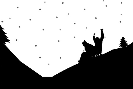 ice slide: Sledding couple in mountain in winter silhouette,one in the series of similar images