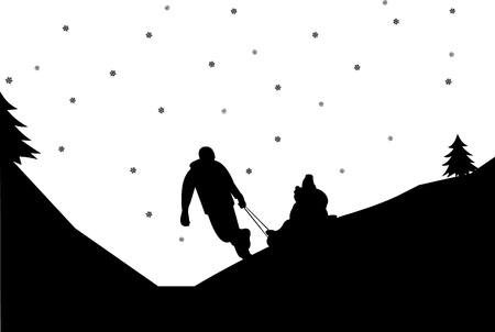 similar images: Sledding family with children in mountain in winter silhouette,one in the series of similar images  Illustration