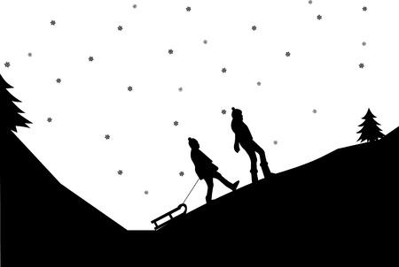 sledding: Sledding girls in mountain in winter silhouette, one in the series of similar images Illustration