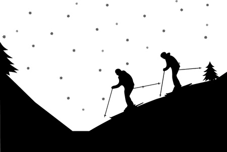 snow track: Silhouette of pair skiers in winter in mountain, one in the series of similar images