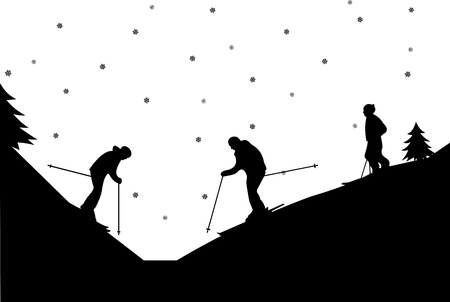 snow track: Silhouette of family skiers in winter in mountain, one in the series of similar images