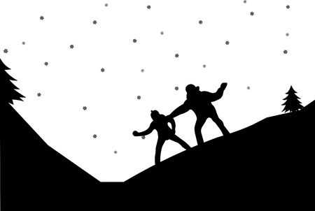 Couple in a snowball fight in winter in mountain silhouette Stock Vector - 16451330