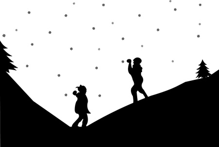frolic: Kids in a snowball fight in winter in mountain silhouette, one in the series of similar images Illustration